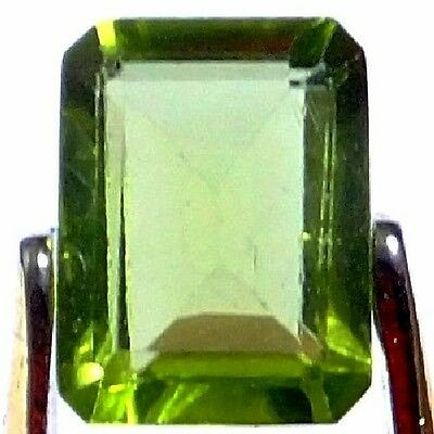 NATURAL EXCELLENT GREEN PERIDOT LOOSE GEMSTONE (7.9 x 6 mm) EMERALD CUT