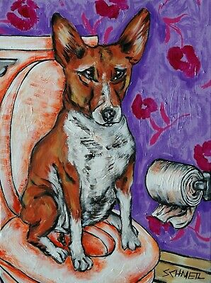 Basenji in the bathroom art signed dog print 13x19