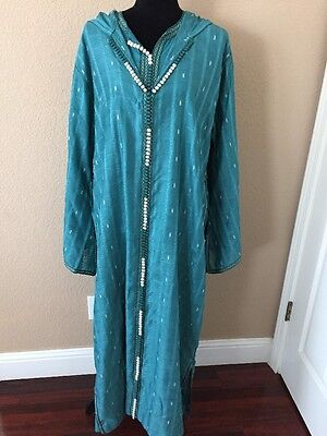 Large Size Teal 3 Piece Djellaba With Caftan And Shawl