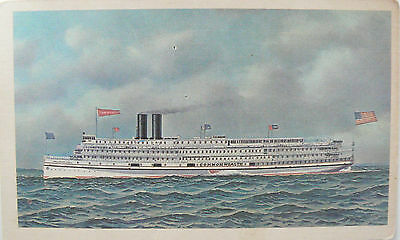 Vintage Postcard.the Famous Steamboat Ss Commonwealth 1908.the Fall River Line.