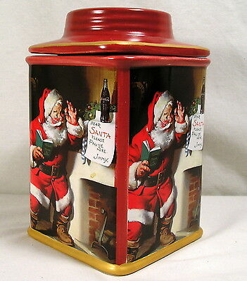 Collectible Coca-Cola Canister, Red Christmas Santa Cookie Snack Jar, Stoneware