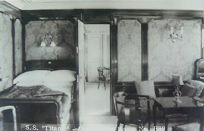 VINTAGE POSTCARD.SS TITANIC.DELUXE SUITE.ROOM No1360.THIS IS A REPRO IMAGE