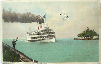 Vintage Postcard.ss Tashmoo At The St.claire Ship Canal Postmarked 1911.hand Col