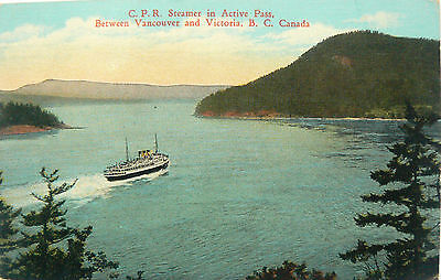Vintage Postcard.cpr Steamer In Active Pass B.c.canada.postage Due On The Back.