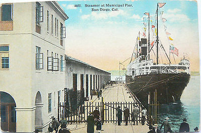 Vintage Postcard.topographical Image.steamer At Municipal Pier San Diego.early