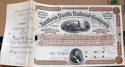 Northern Pacific Railroad Comp. Stock Certificate 1880's-1890's dark brown color
