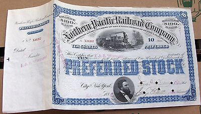 Northern Pacific Railroad Company Stock Certificate 1880's blue color