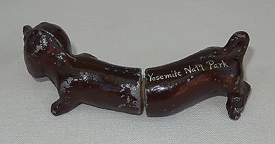 Vtg. Souvenir Yosemite Nat'l Park Dachshund/Wiener Dog Metal Salt/Pepper Shakers