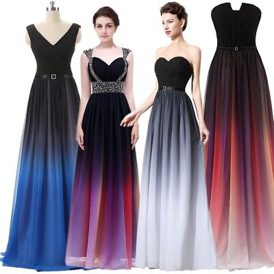 Plus Long Gradient Bridesmaid Evening Chiffon Dresses Women Party Formal Gown 20