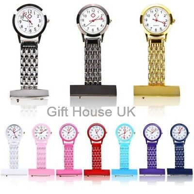 Stainless Steel Silver Metal Nurse D3 Brooch Tunic Fob Watch Gift FREE BATTERY