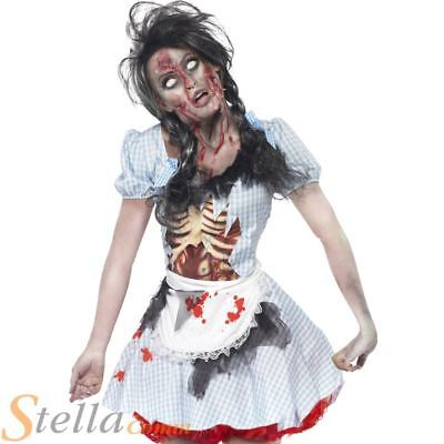 Ladies Zombie Dorothy Costume Halloween Horror Fancy Dress Womens Adult Outfit