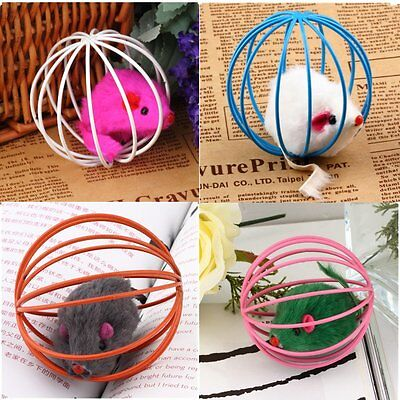 Fun Gift Play Playing Toys False Mouse in Rat Cage Ball For Pet Cat Kitten M2