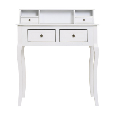 Mobili Rebecca® Desk Writing Console Table 4 Drawers Wood White French Style