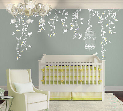Wall Stickers custom vine birdcage butterfly large kids nursery home vinyl decal