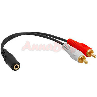 3.5mm 1/8 Stereo Female Mini Jack to 2 Male RCA Plug Adapter Audio Y Cable