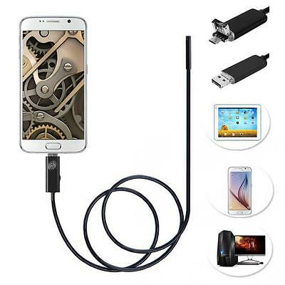 2 In 1 5M 9mm 6 LED USB Endoscope Waterproof Borescope Inspection Video Camera