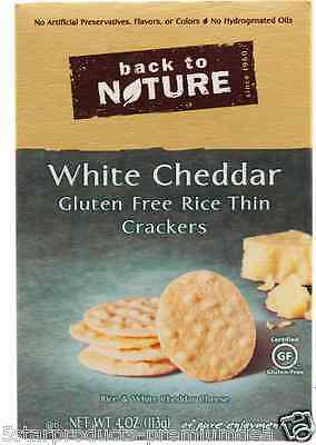 New Back To Nature Gluten Free Rice Thin Crackers White Cheddar Food Snacks