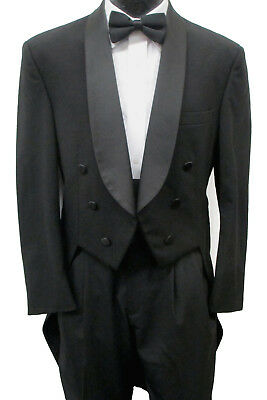 High Quality 100% Wool Black Tuxedo Tailcoat with Satin Shawl Lapels 6 Button