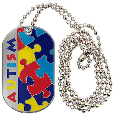 PinMart's Silver Plated Autism Awareness ID Necklace Enamel Dog Tag