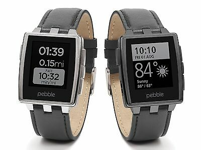 Pebble Steel Smart Watch for Android or iOS - Stainless Steel & Genuine Leather