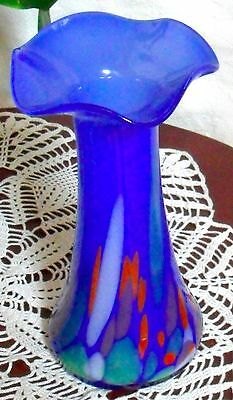 "Hand Blown Glass Murano Art Style Vase Blue Multi-Color Ruffled Fluted 9"" Unsign"