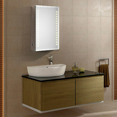 Saturn Led Illuminated Bathroom Mirror Cabinet Infra-Red Sensor Shaver Socket
