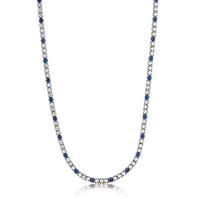 "Beautiful 16"" Simulated White And Blue Sapphire Tennis Necklace With 2"" Extender"