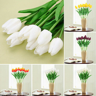 10 Head Tulip Flowers Latex Real Touch Bridal Wedding Bouquet Party Home Decor
