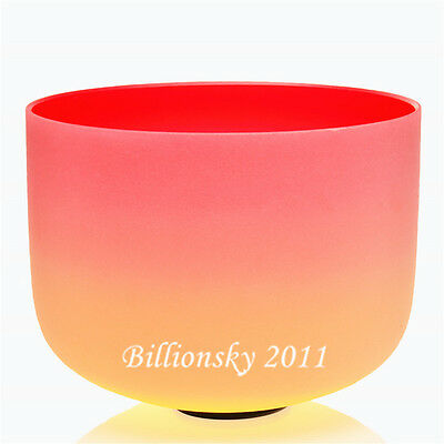 """Rainbow Colored FrostedC Root Chakra Quartz Crystal Singing Bowl 10"""""""