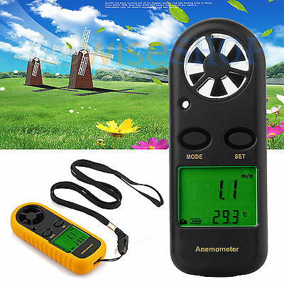 Wind Speed Meter Anemometer LCD Digital Handheld Surfing Velocity Thermometer