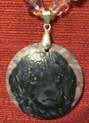 Portuguese Water Dog hand pianted on gemstone pendant/bead/necklace