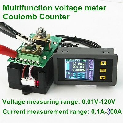 NEW DC 120v 300A wireless capacity Voltage Power Meter Coulomb Counter