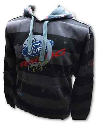 Sweatshirt Hoodie Adult Rally Cross OMSE Ford Distressed NEW! Striped Grey