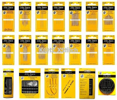 JOHN JAMES HAND SEWING NEEDLES - ALL TYPES/SIZES 5% OFF 3+ Household/Needlecraft