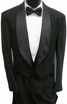 Black Tuxedo Tailcoat Costume Theater Halloween Dracula Dickens Victorian 42R