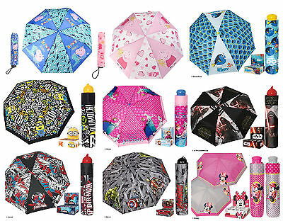 Boys Girls Kids Official Various Character Manual Compact Folding Umbrella