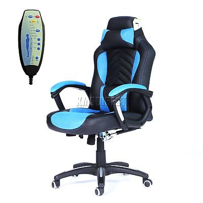 FoxHunter Luxury 6 Point Massage Office Computer Chair Reclining MC09 Blue New
