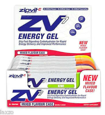 ZipVit Sport ZV7 Energy Gel Variety Box with 6 Flavours 24 x60ml Bicycle Cycling