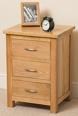 Boston Solid Oak Wood Small Bedside Table Unit 3 Drawer Chest of Drawers Bedroom