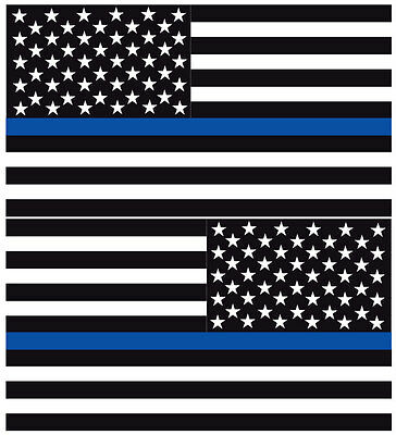 """Reflective Thin Blue Line American Flags Mirrored 3""""- POLICE FIRE DECAL"""