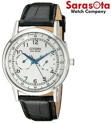 Citizen Eco Drive AO9000-06B Day/Date Silver Dial Black Leather Men's Watch