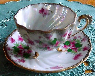 Napco Hand Painted Porcelain Lusterwear Gold Accents Tea Cup C 239 And Saucer -
