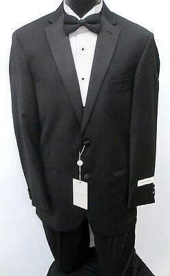 New Black Joseph Abboud Tuxedo with Flat Front Pants Wedding Prom Formal 38L