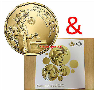 2016 100th Anniversary WOMEN'S RIGHT TO VOTE Loonie $1 + Collector Card / Folder