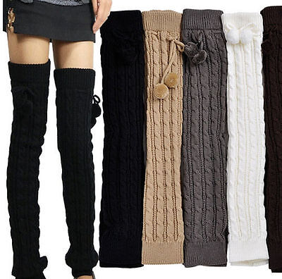 NEW Extra Long Leg Warmer Women Crochet Knit Winter Legging Socks 6 Colors Warm