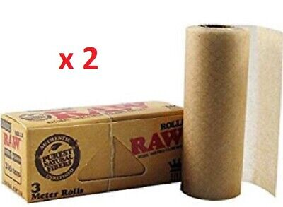 RAW Classic 3 meter rolls natural unrefined Rolling Papers king size x 2 packs