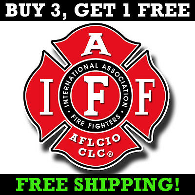 "IAFF 4"" Bumper Sticker - Firefighter Maltese Cross Sticker AFL-CIO Car Decal"