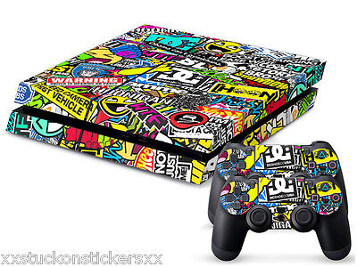 Stickerbomb PS4 Skin Vinyl Decal Hoonigan Gymkhana Playstation 4 Sticker Cover