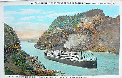 Vintage Postcard.chilean Liner 'teno'passing Through The Panama.pmkd Canal Zone.