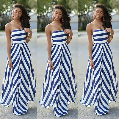 Ladies Sexy Summer Stripe Maxi Long Evening Party Beach Dress Sundress Size 6-16